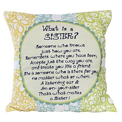 Sister Message Cushion-12X12 inches Pink Cushion