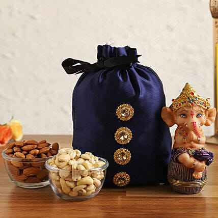 Online Sitting Ganesha Idol & Dry Fruits In Blue Potli
