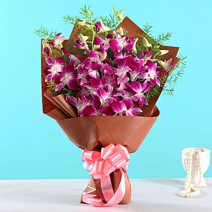 Orchids and Flower Arrangement:Purple Flowers
