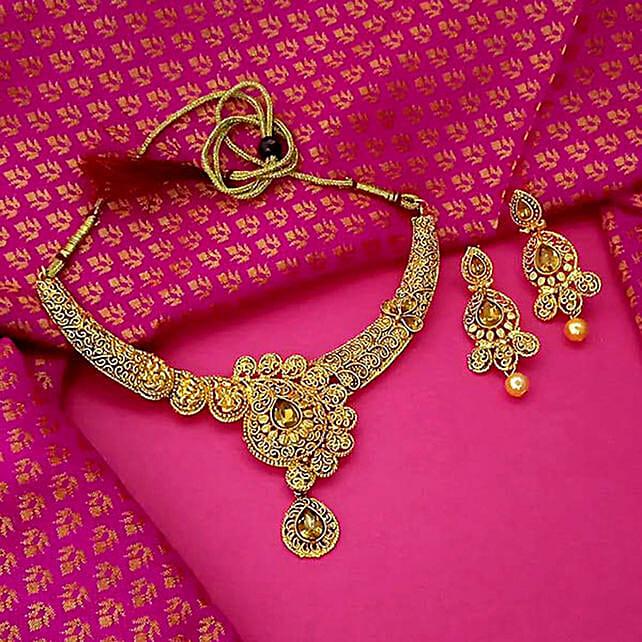 Sleek Gold Plated Brown Austrian Stone Necklace Set