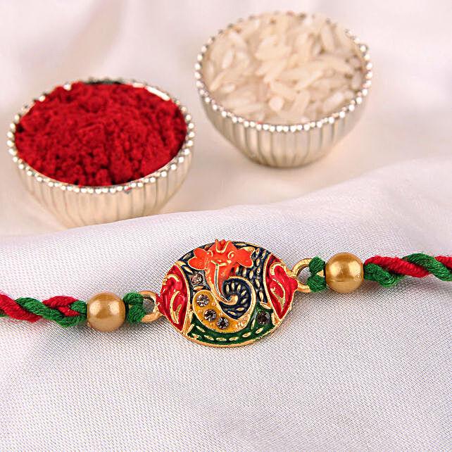 Sleek Multicolour Ganesha Rakhi