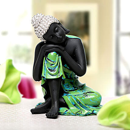 Sleeping Buddha-1 black and green coloured sleeping Buddha idol:Buddha Gifts