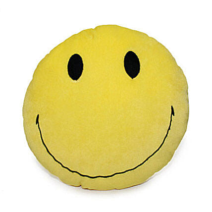Smiley For You-12 x 12 inch smiley face cushion:Send Soft toys to Jaipur