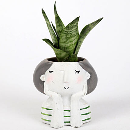 sansevieria plant in custom girl shape pot:Daughters Day Plants