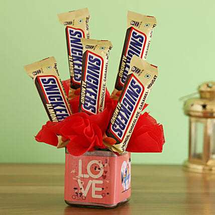 Love Vase full of Snicker Bars:New Arrival Chocolates