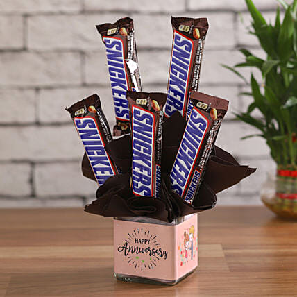Snicker Bars in a Glass Vase