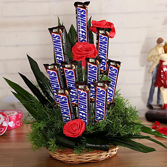 Snickers Artificial Red Flowers Arrangement
