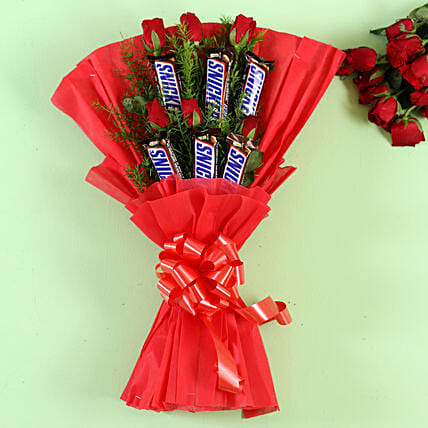 Snickers Bars Red Roses Bouquet