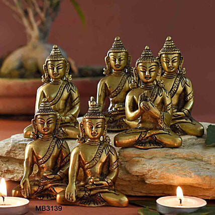 Solid Brass Buddha With Kundal Set Of 6