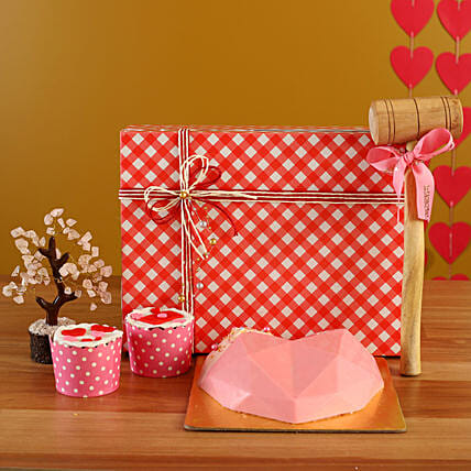 Order Soothing Pink Love Treat Box Combo:Candies