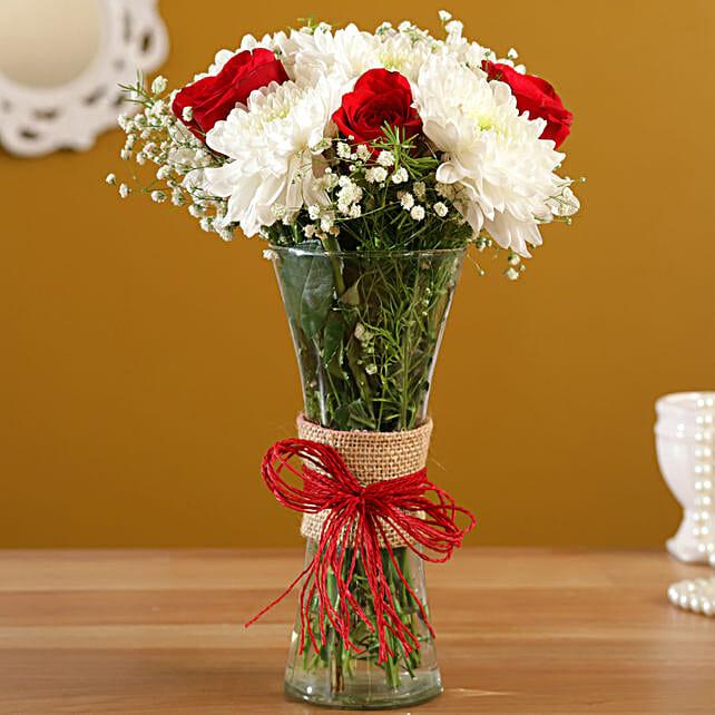Sparkling Chrysanthemums Floral Vase