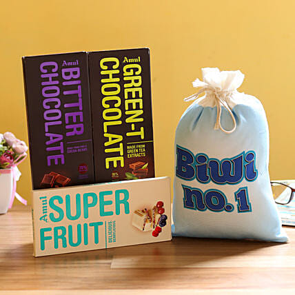 Chocolate Bar with Gunny Bag for Wife:Flowers to Bijapur