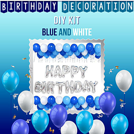 Special Birthday Decoration Kit Blue White:Balloon Decorations