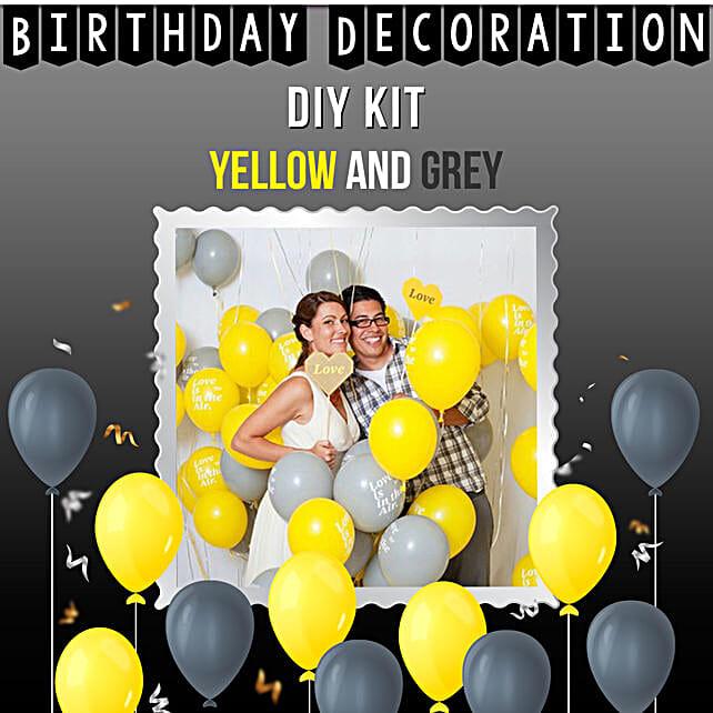 Special Birthday Decoration Kit Yellow Grey