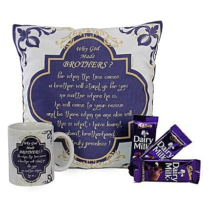 Special Combo For Brother-White 12X12 inches Cushion,White Coffee Mug,3 Cadbury Dairy Milk Chocolates 17 grams each:Chocolates to Lucknow