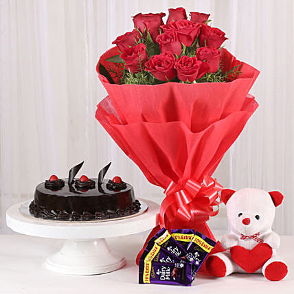 Flower Hamper - Bunch of 12 Red Roses with 5 cadbury , Soft toy and 500gm gifts .:Flowers & Cakes For Valentines Day