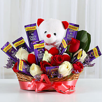 Hamper of chocolates and teddy bear choclates gifts:Valentine Flowers Noida