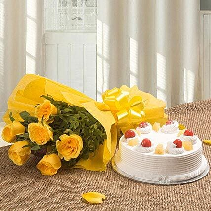 Spectacular - Bunch of 6 Yellow Roses with Pineapple Cake 500gms.:Cake and Flower Delivery
