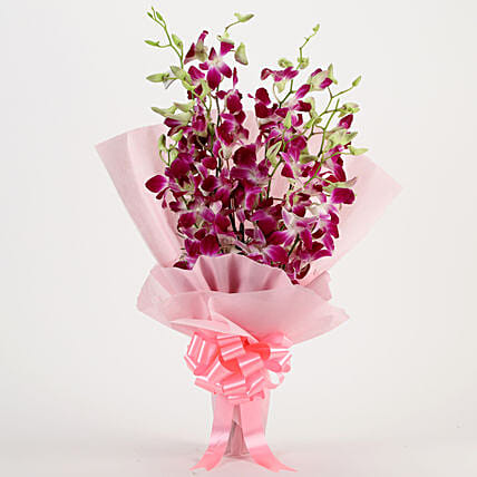Bunch of 6 purple orchids womens day women day woman day women's day:Wedding Gifts to Kanpur