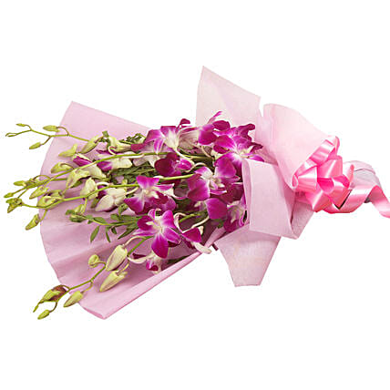 Bunch of 6 purple orchids womens day women day woman day women's day:Wedding Gifts Bengaluru