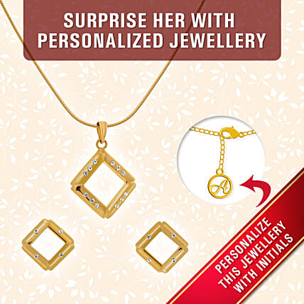 gold plated personalised pendant set