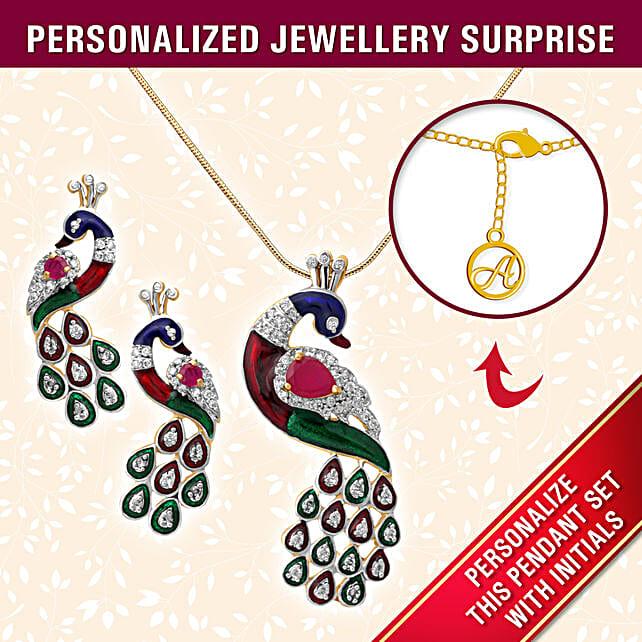 personalised peacock design pendant online