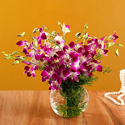 Orchid Home Décor Arrangement:Purple Flowers