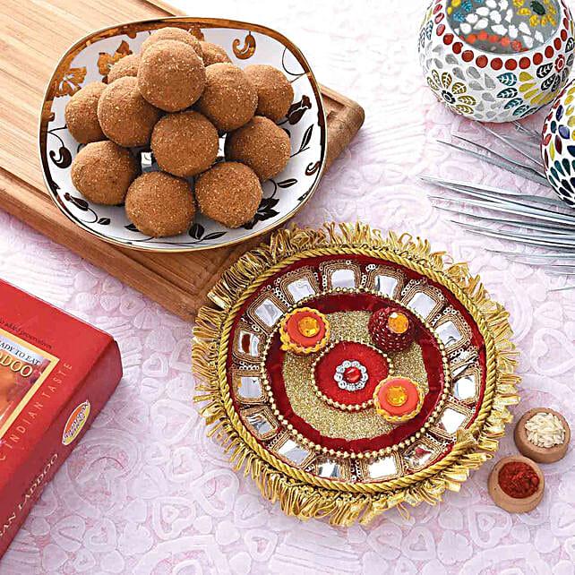 Stunning Red Pooja Thali With Besan Laddu Combo:Bhai Dooj Combos