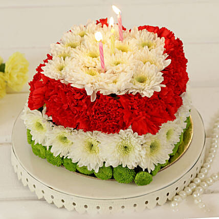 Stunning Red & White Floral Cake