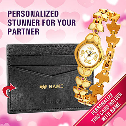 gold plated watch n card holder