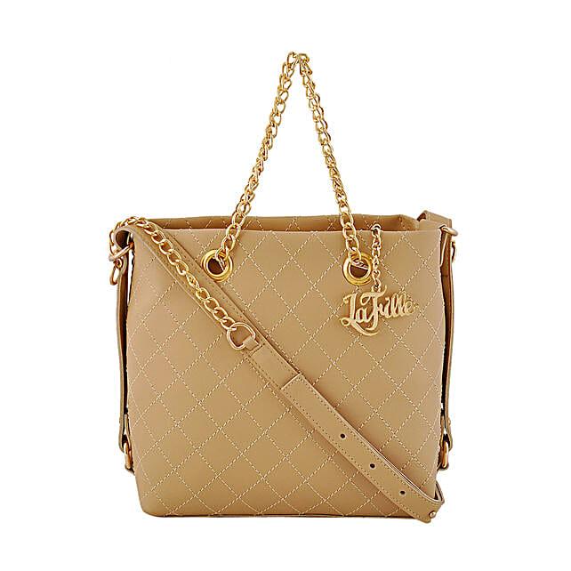 elegant designer beige handbag