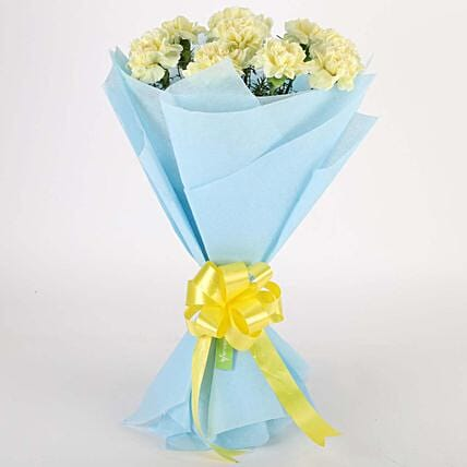 Sundripped Yellow Carnations Bouquet:Valentine Flowers Allahabad