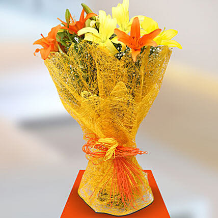 Sunshine Lillies - Bunch of 6 yellow and orange asiatic lilies.:Send Lilies to Gurgaon