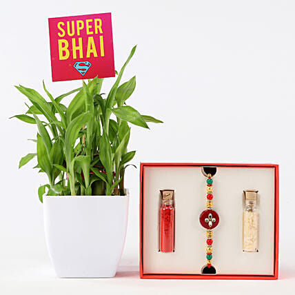 Online Rakhi And Super Bhai Bamboo  Combo