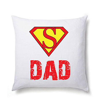 Super Dad Cushion-White Colored Cushion 12X12 inches,Super DAD message on it