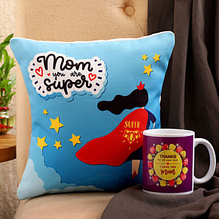 Super Mom Cushion And Mug Combo Hand Delivery:Gift Combos For Mothers Day