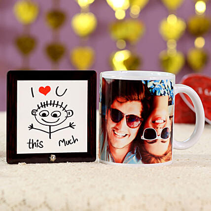 Super Romantic Cushion Mug Combo:Personalised Gifts Combos