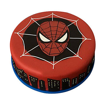 Spiderman design fondant cake 1kg:Spiderman Birthday Cakes