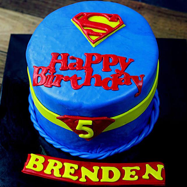 OnlineSuperman Logo Truffle Fondant Cake:Superhero Cakes