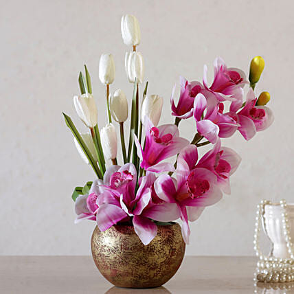 Artificial Tulip & Iris Arrangement:Artificial Flowers