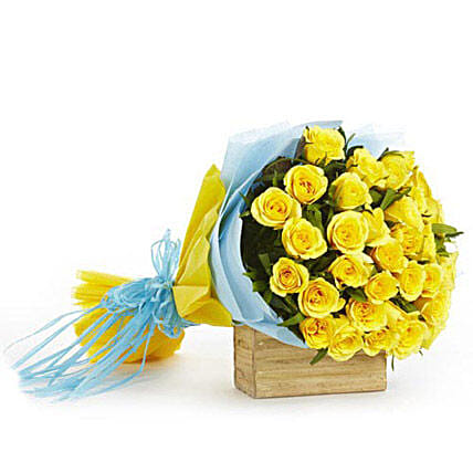 Surreal Zone - Bunch of 30 yellow roses in a two layer paper packing.:Send Wedding Gifts to Vapi