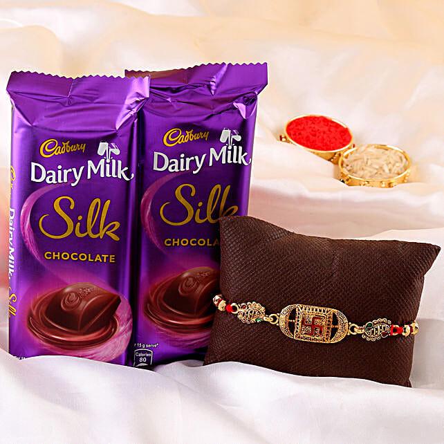 Swastik Rakhi & Dairy Milk Silk Combo online
