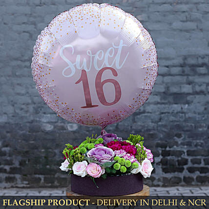 Sweet 16 Balloon And Premium Mixed Flowers Arrangement