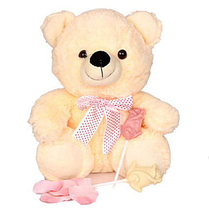 Plushy and Sweet Love-10 inches teddy bear,2 rose shaped white chocolate lollipops:Soft toys to Noida