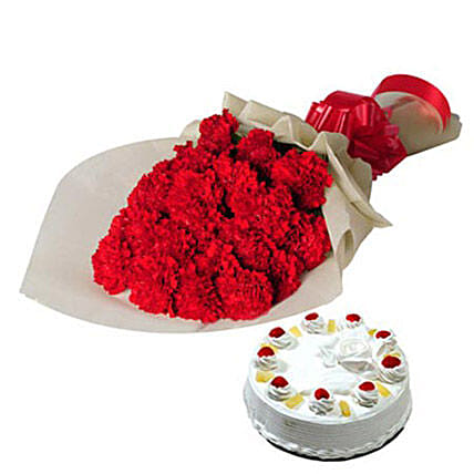 Sweet Moments - One Sided Bunch of 25 Red Carnations in cream color paper packing and 1kg  Cake.