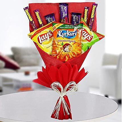 Chocolates and Chips Bouquet:Chocolates to Mumbai