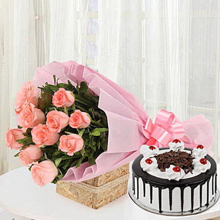 Sweet Treat with Flowers - Bouquet of 10 pink roses in a paper packing and 500 grams of black forest cake.