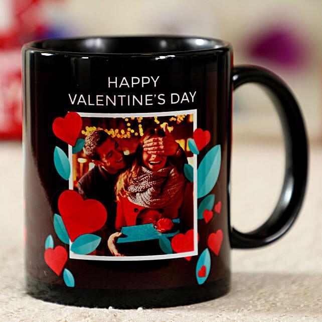 Sweetly Romantic Black Personalised Mug:Valentines Day Mugs