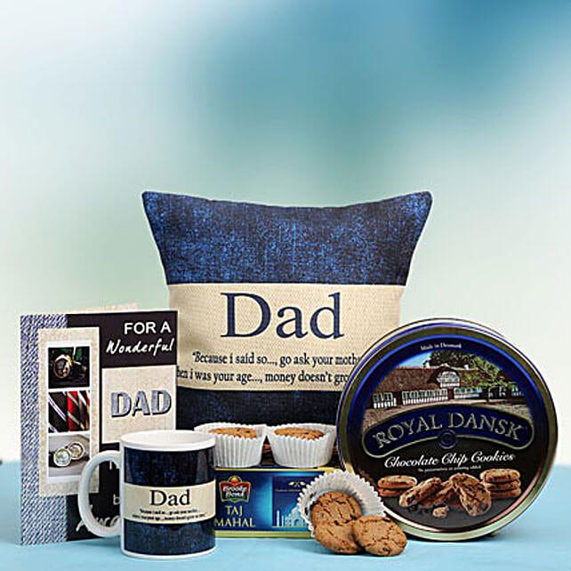 Gift hamper of mug, cushion, greeting card, tea bags and cookies