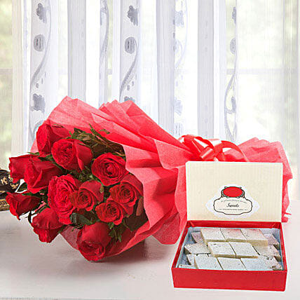 N Roses - Bunch of 12 Red Roses packing, 500gms Kaju Katli.:Send Flowers & Sweets
